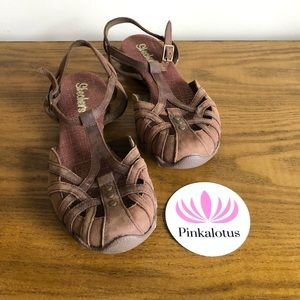 Sketchers Brown Leather Strappy Sandals Sporty 7